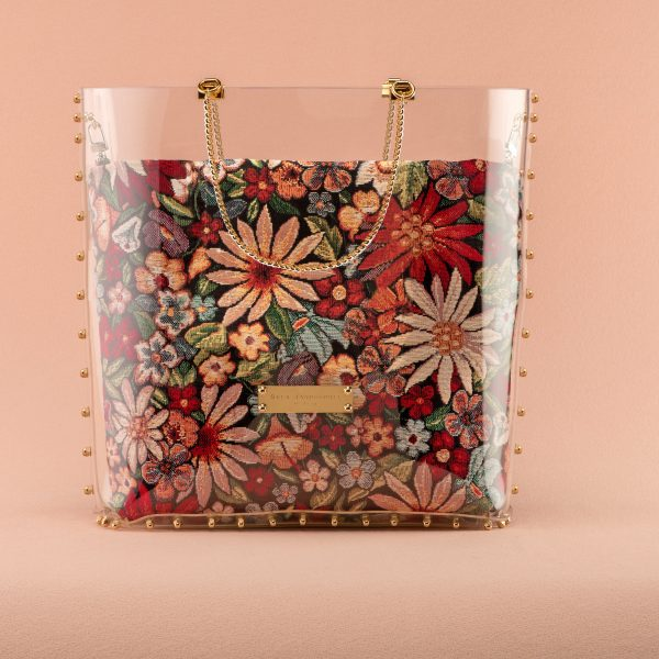 Shopper Flowers gold Quadrat