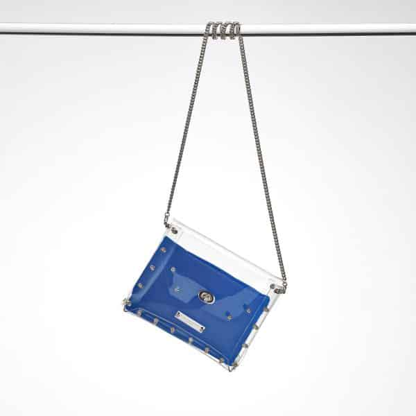 Transparent Clutch Claire nickel blau