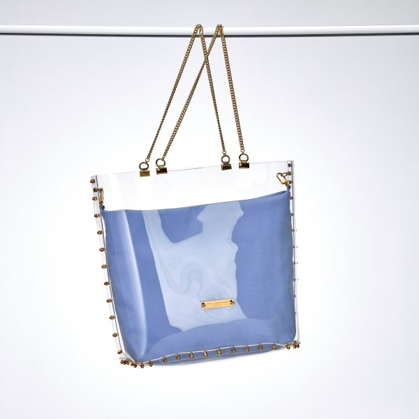 Shopper Gold Blaue Hortensie