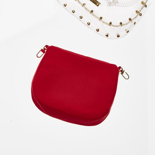 Pouch Transparent Saddle Bag red