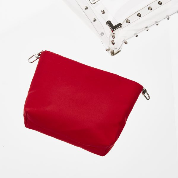 Pouch Transparent Trapez Bag Red