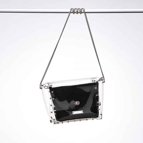 Transparent PVC Bag Nickel Hardware Black
